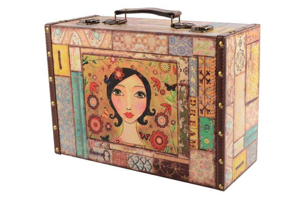 Wooden Box - Suitcase Fergie L, 34.5x24.5x14cm