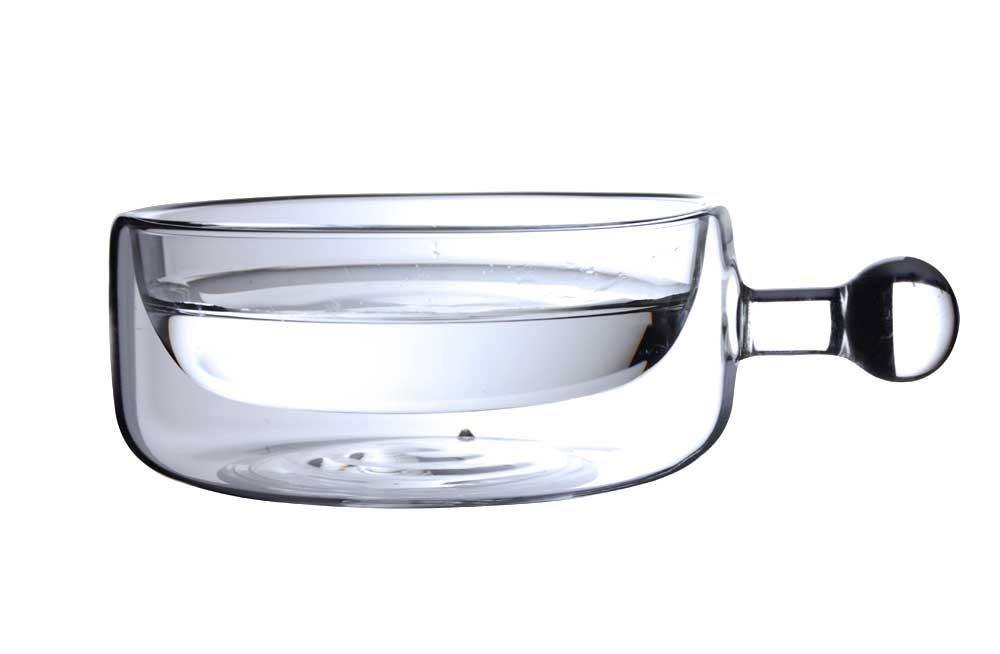 Pot with handle, thermo glass, 250ml,  H-5cm, D-11cm