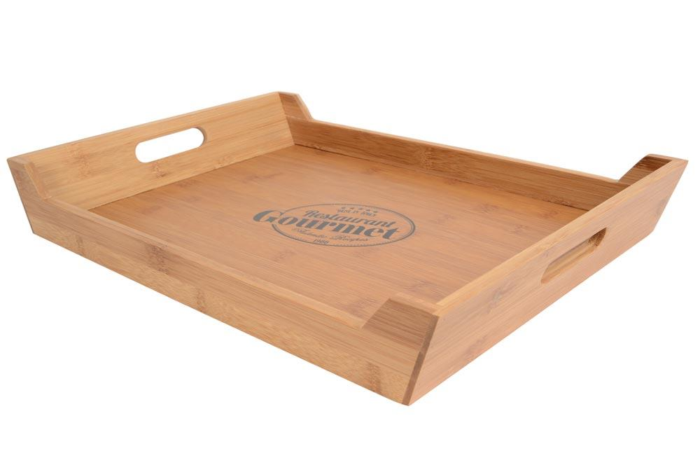 "Bamboo Serving Tray ""Restaurant Gourmet"", 44.5x30x6.3cm"