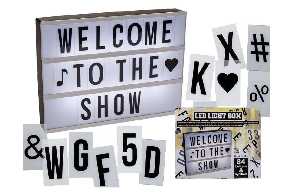 Illuminated plastic display board with 84 letters & symbols, 30x22cm