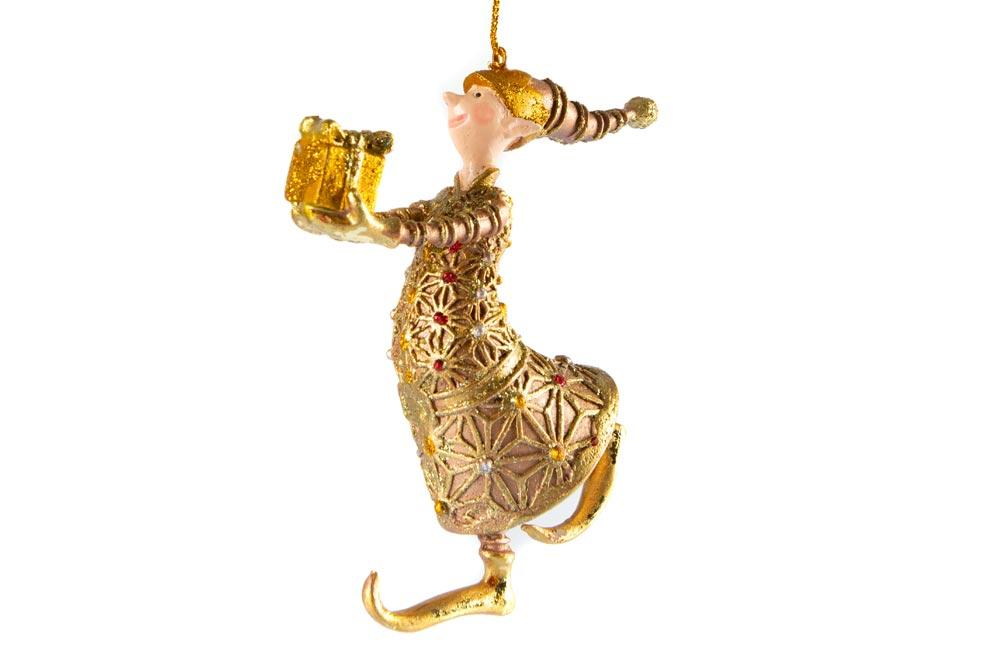 Christmas ornament Canterbury Elf with gift, h14cm