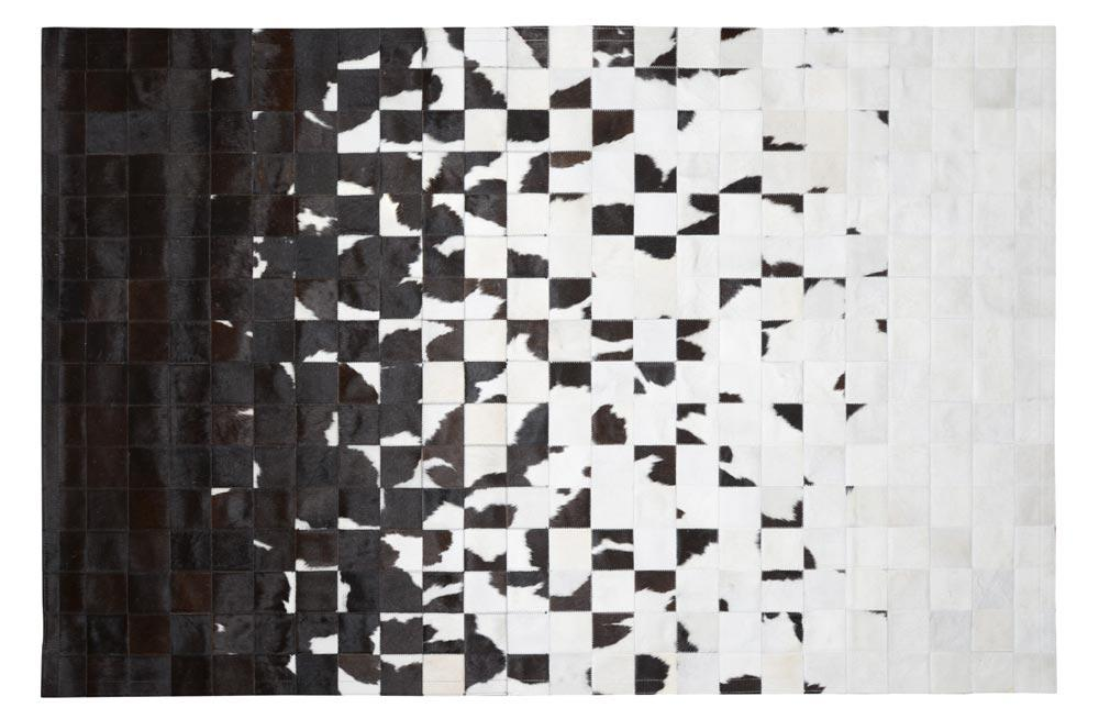 Cowhide Rug Multisolid, black/white, 160x240cm