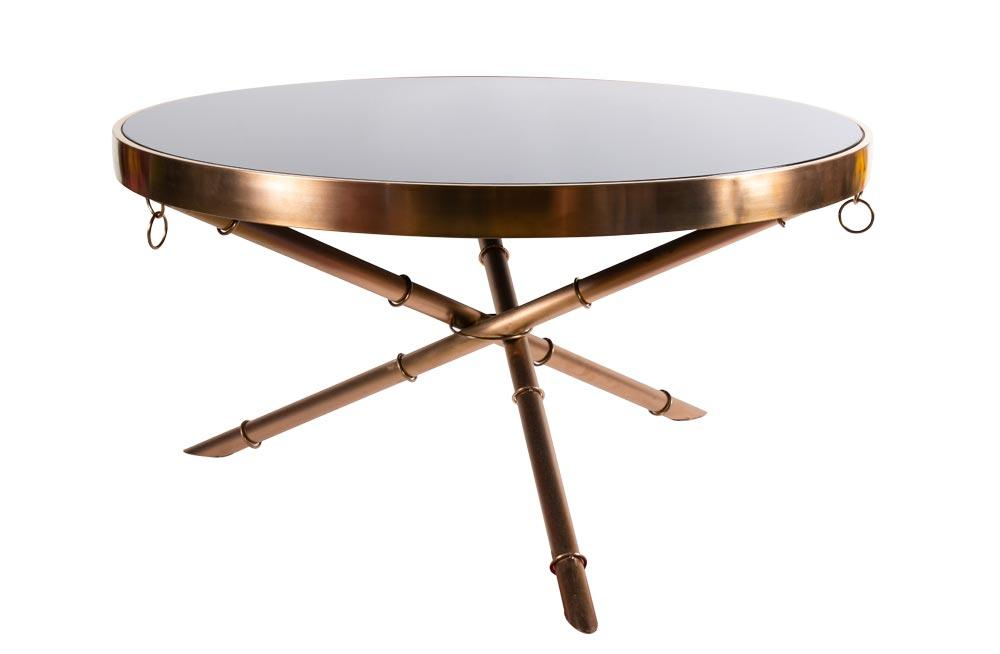 Coffee table Gino, black glass D89x40cm