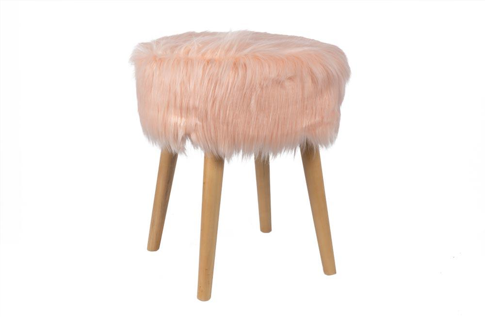 Amazing Stool Fluffy Pink 37X37X45Cm Poufs Ottomans And Stools Pabps2019 Chair Design Images Pabps2019Com