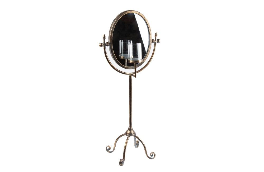 Candle Holder writh mirror Omega, H71x31.5cm