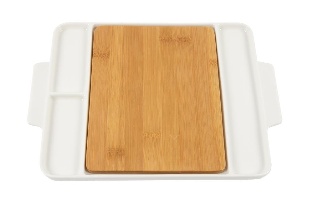 Rectangular plate with bamboo inside, 32x22.5cm