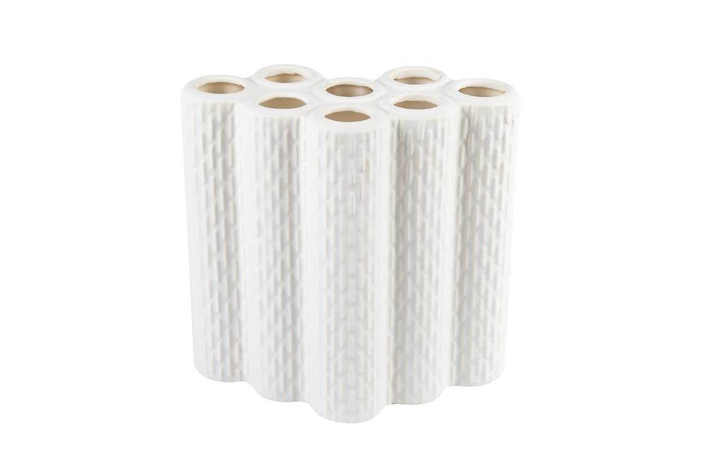 Decor LOU MULTI CYLINDERS, white, H21x21cm