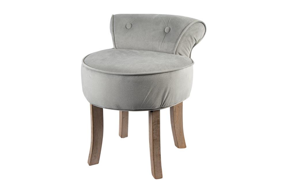 Chair Yanta, velvet, grey, 43x45x57cm, seat height 41cm