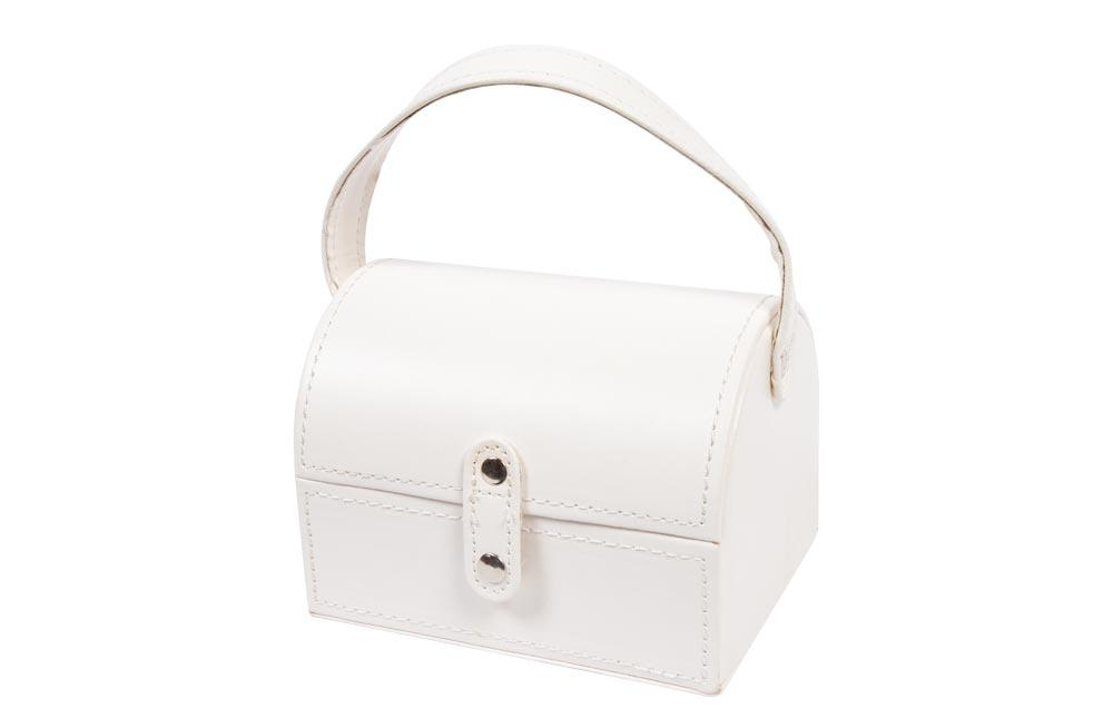 Jewellery box white PU, 15x11.5x11cm