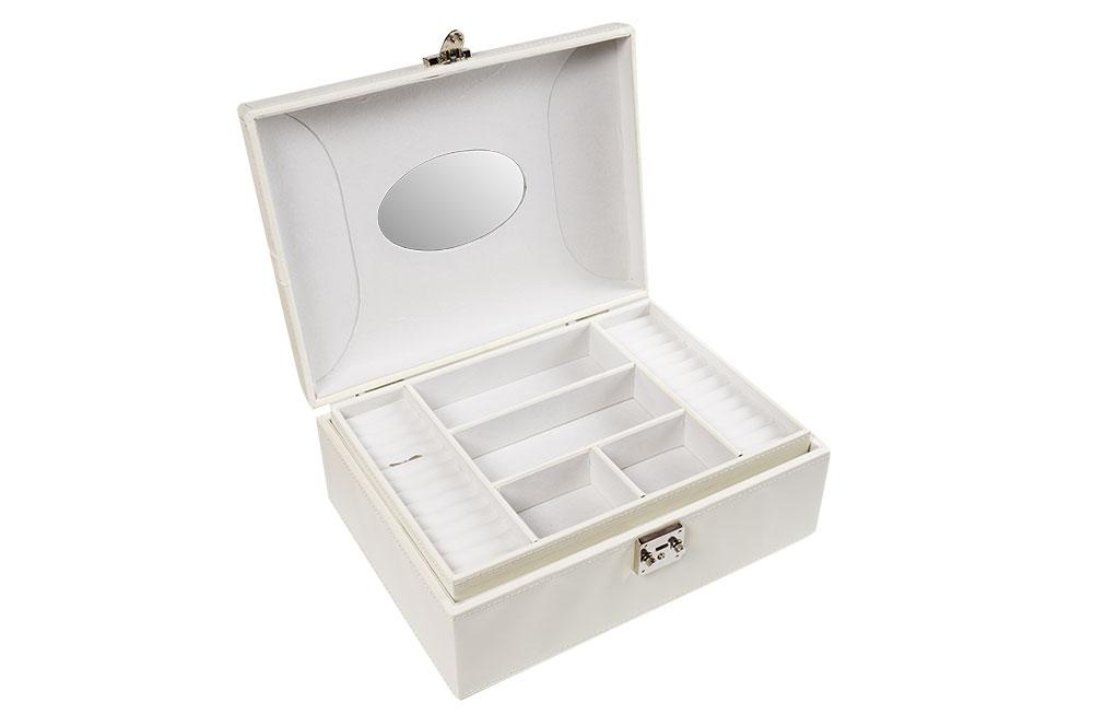 Jewellery box Tina, pearl white, 24.5x35.5x15cm