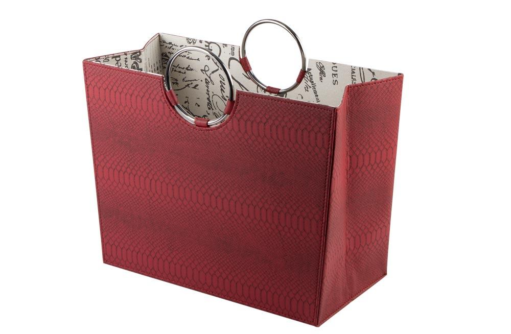 Magazine bag, red/snake skin PU, 31x20x41cm