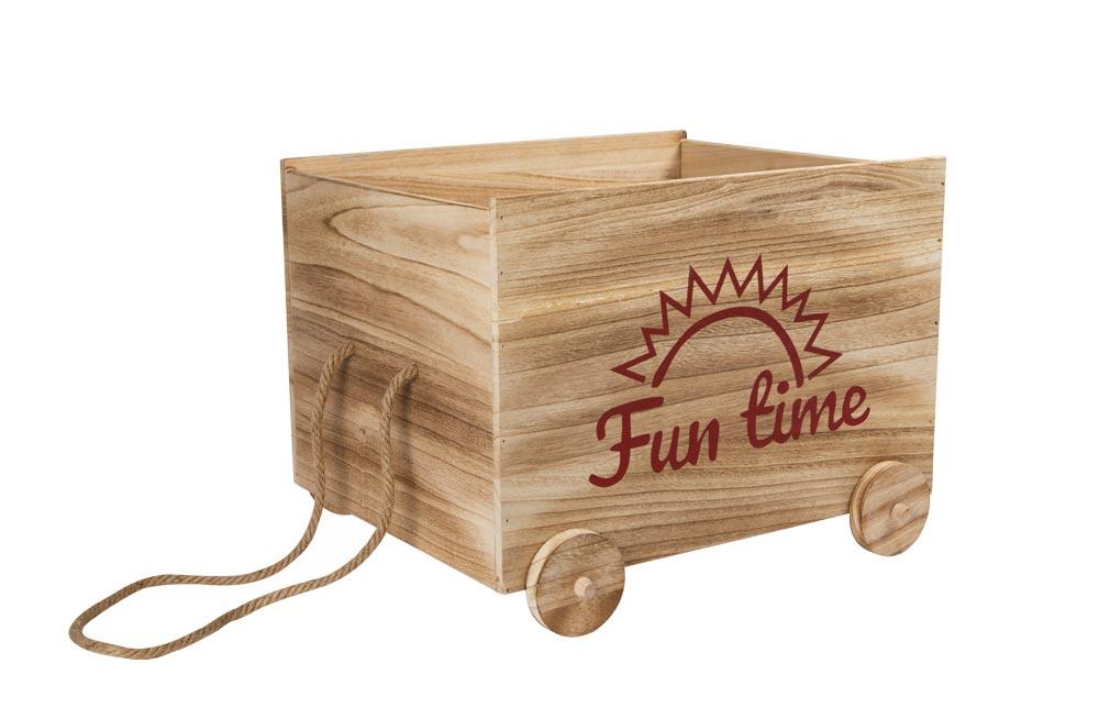 Wooden storage cart with rope Fun Time, size1, 48x38x36cm