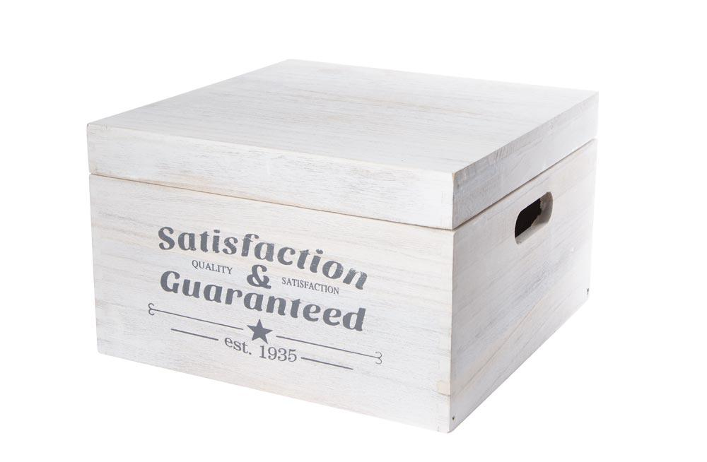 Wooden box S&G with cover S, washed white, 30x30x18cm