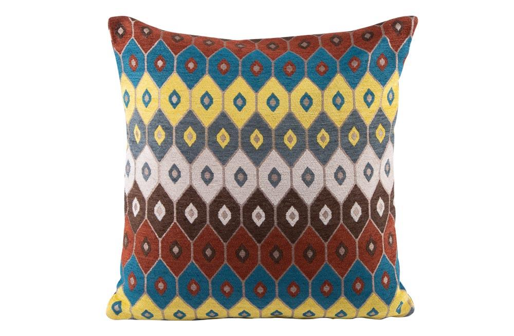 Decorative pillowcase Ruya 2, yellow/blue/bordeaux, 45x45cm