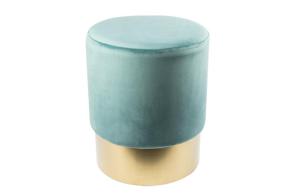 Stool Noto, mint/gold color base, 35x42cm