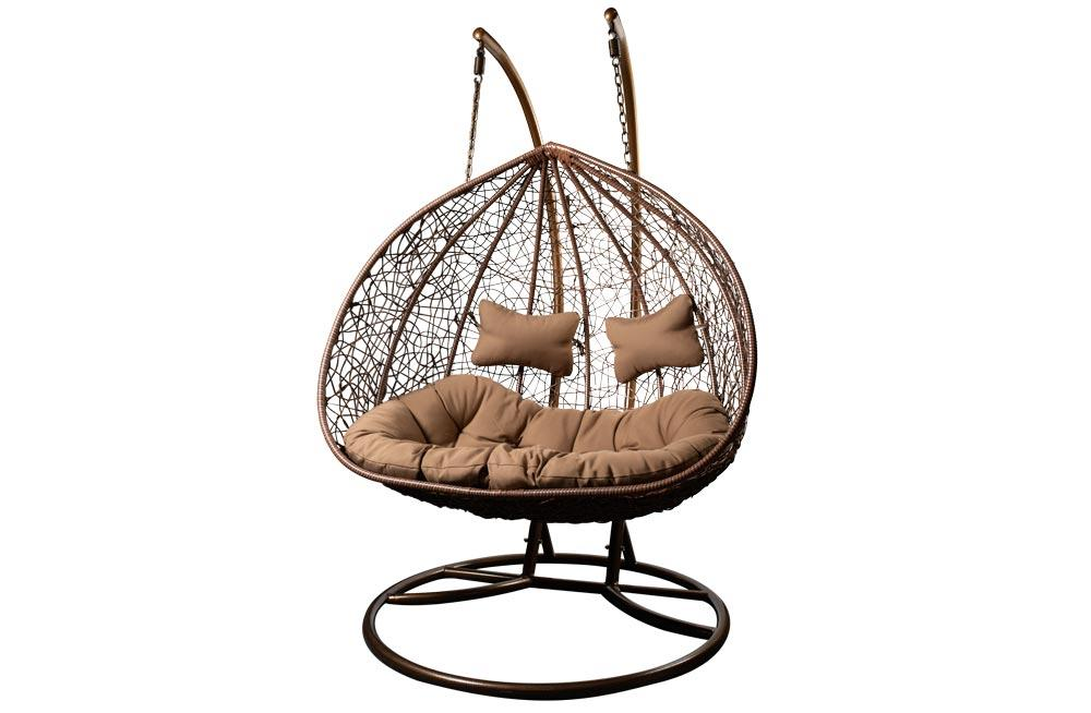 Double Hanging Chair Couple Brown H200 W132cm Chairs