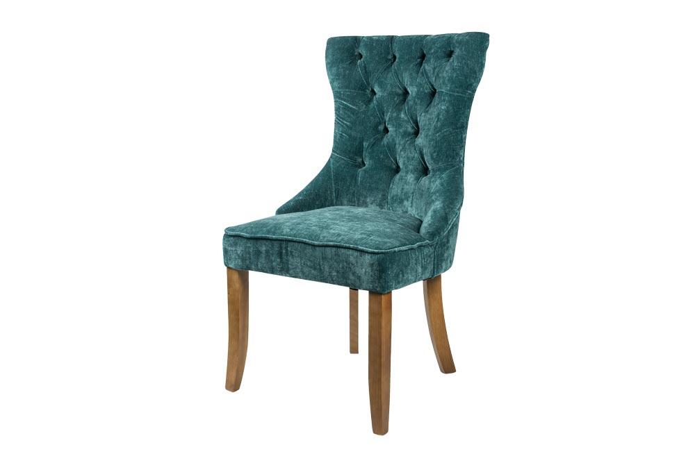 Chair Nice, velvet, blue, 56x65x98cm, seat height 50cm
