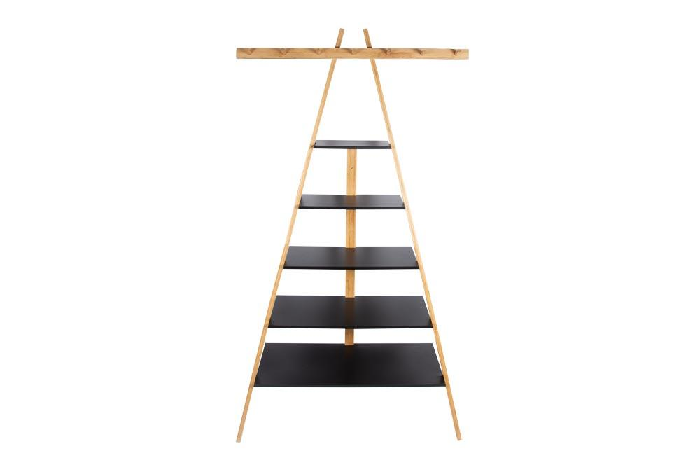 Standing ladder rack/shelf Paide with hook, bamboo, H165cm