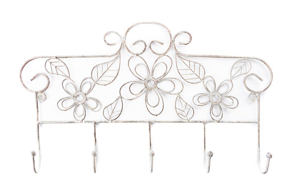 Cast iron Wall hanger with 5 hooks antique/grey, 46x5x27.5cm