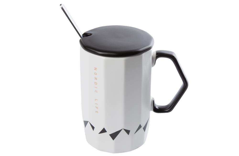 Cup with a spoon Nordic Life, 400ml, H-12.5cm, D-8cm