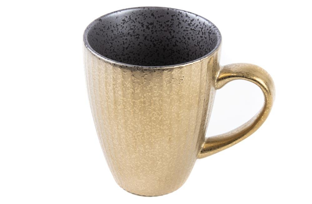 Mug Monette, striped/black/golden, 270ml, 10x8 cm