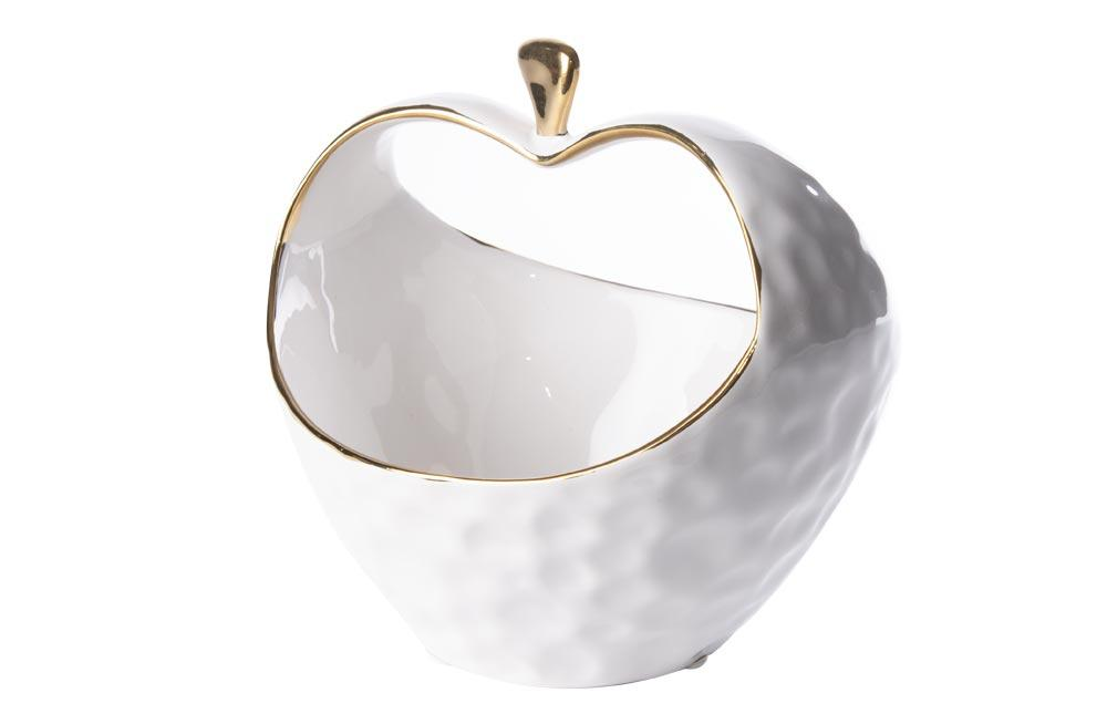 Decorative bowl  Werona, white/gold, 17x15.5x16.5cm