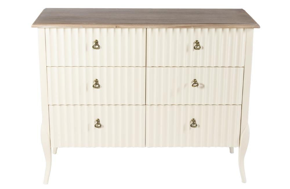 Chest Madeira, 6 drawers, off white, 114.5x42x90 cm