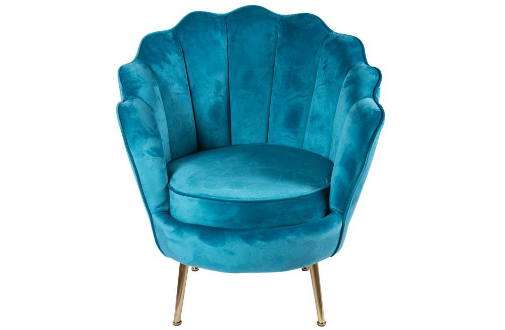 Armchair Shell, light blue, H85x74x74cm, seat height 43cm