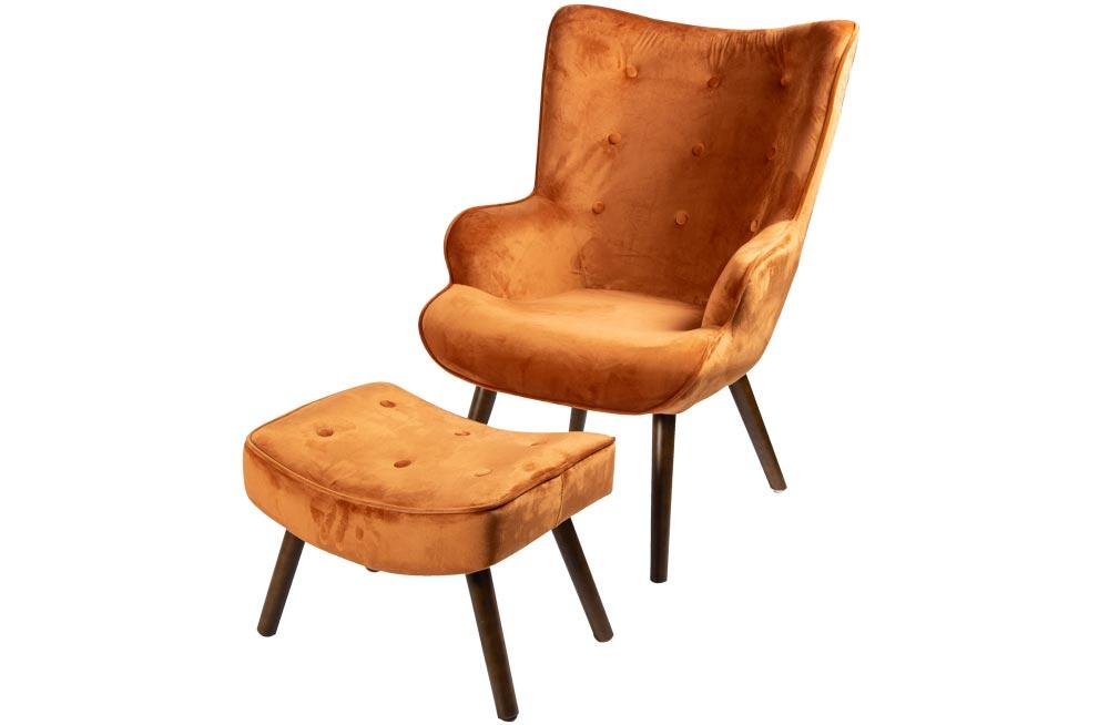 Armchair Davel and stool, orange, H95x70x69cm, seat height 46cm