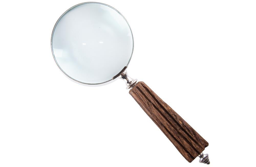 Magnifier, brass/wooden, 26.5x10x3cm, 4x magnification
