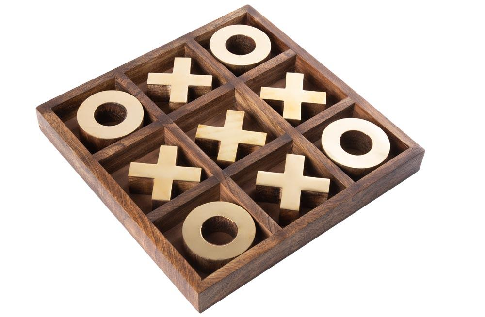 Game X and O, mango wood, 25x25x3.5cm