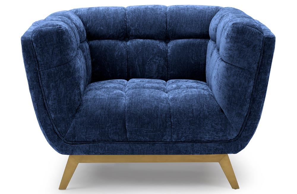 Club chair Haris, blue, velvet, 110x89x74cm, seat height 43cm