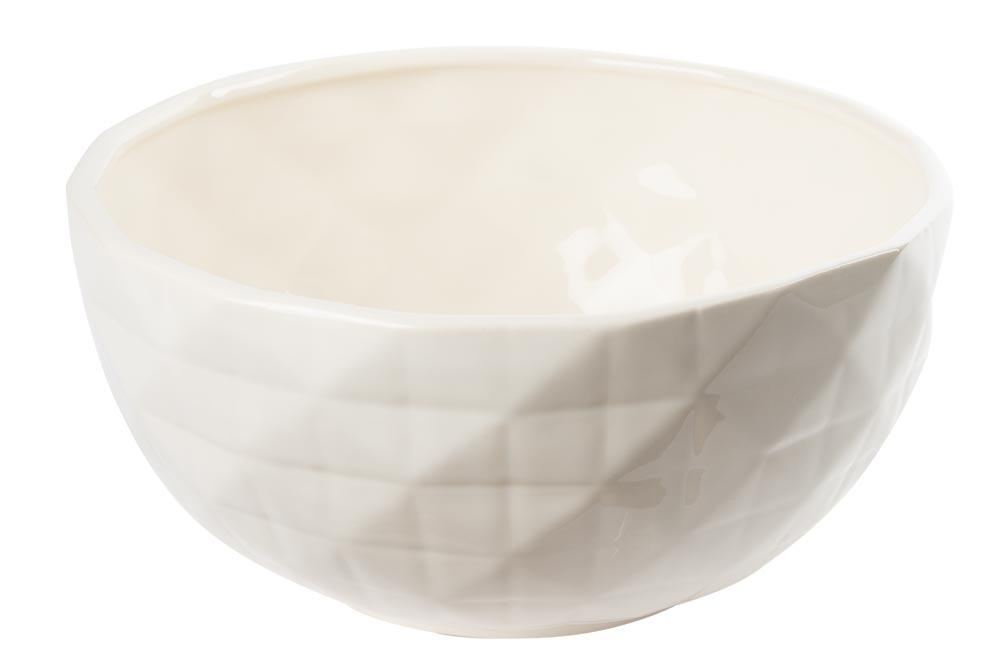 Decorative bowl Elegance with lines, cream/ shiny, D24.5cm