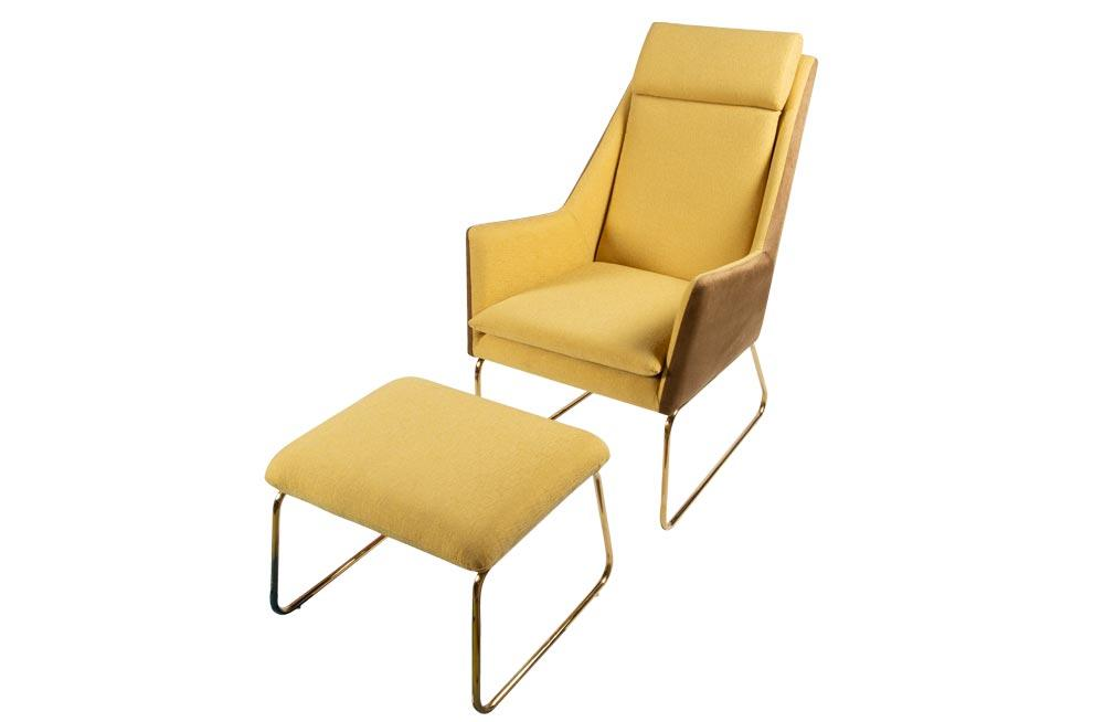 Lounge chair Albano H98x90x65cm with ottoman H45x54x44cm