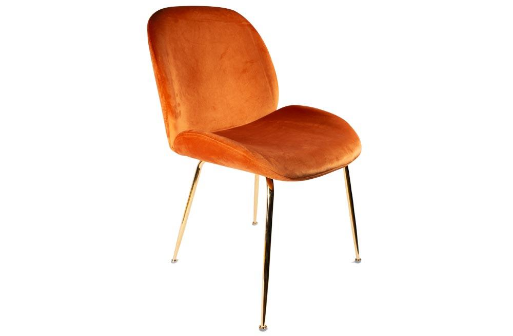 Dining chair Troja, orange, velvet, 58x46x88cm seat height 47cm