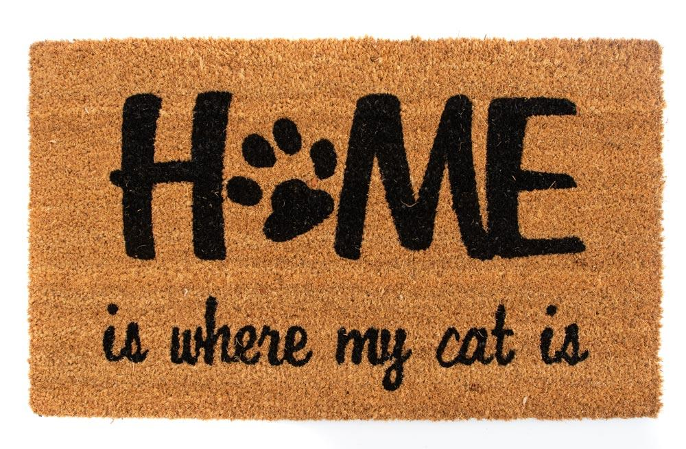 Door mat Home Is Where My Cat Is, coir 45x75cm