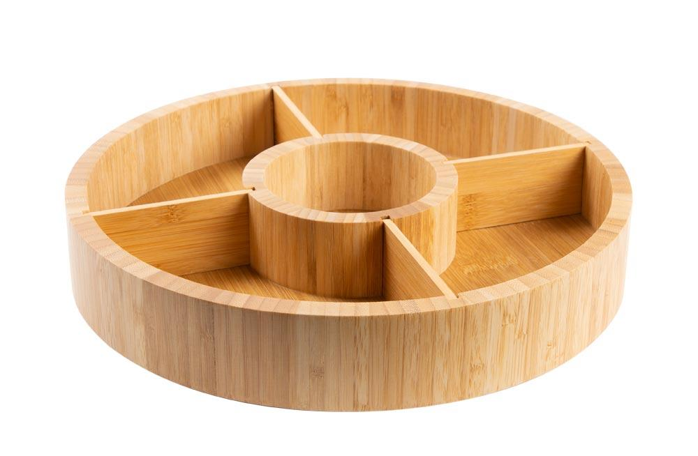 Bamboo plate, turnable, D30x6.2cm