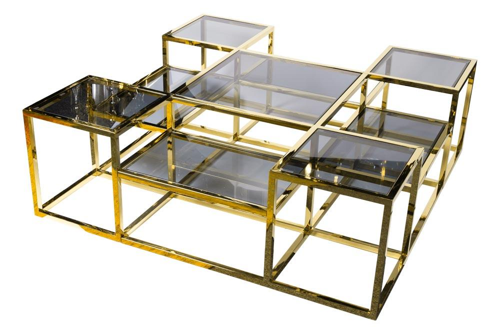 Coffee table Elgin, toned glass/golden, 120x120x40cm