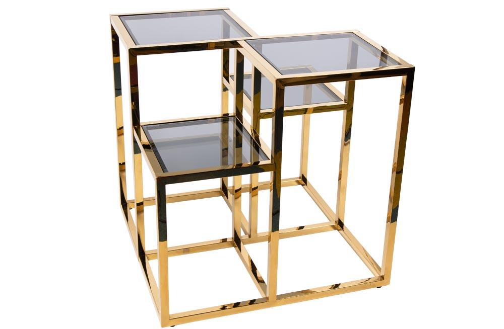 Side table Elgin, toned glass/golden, 60x60x60cm