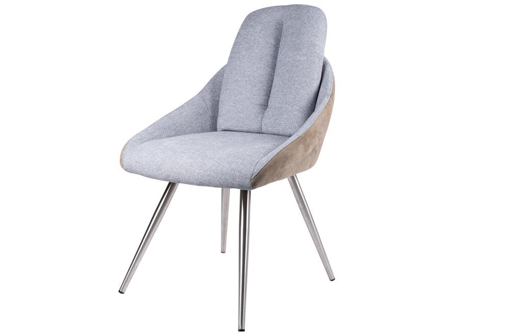 Chair Danbury, grey/taupe PU, metal legs, 64x55x90cm, seat height 48cm
