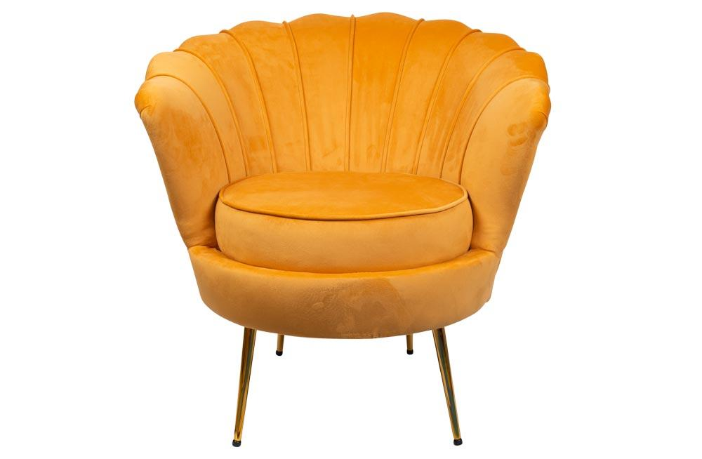 Armchair Amorinito, golden colour, velvet, 75x71x77cm, seat height 47cm