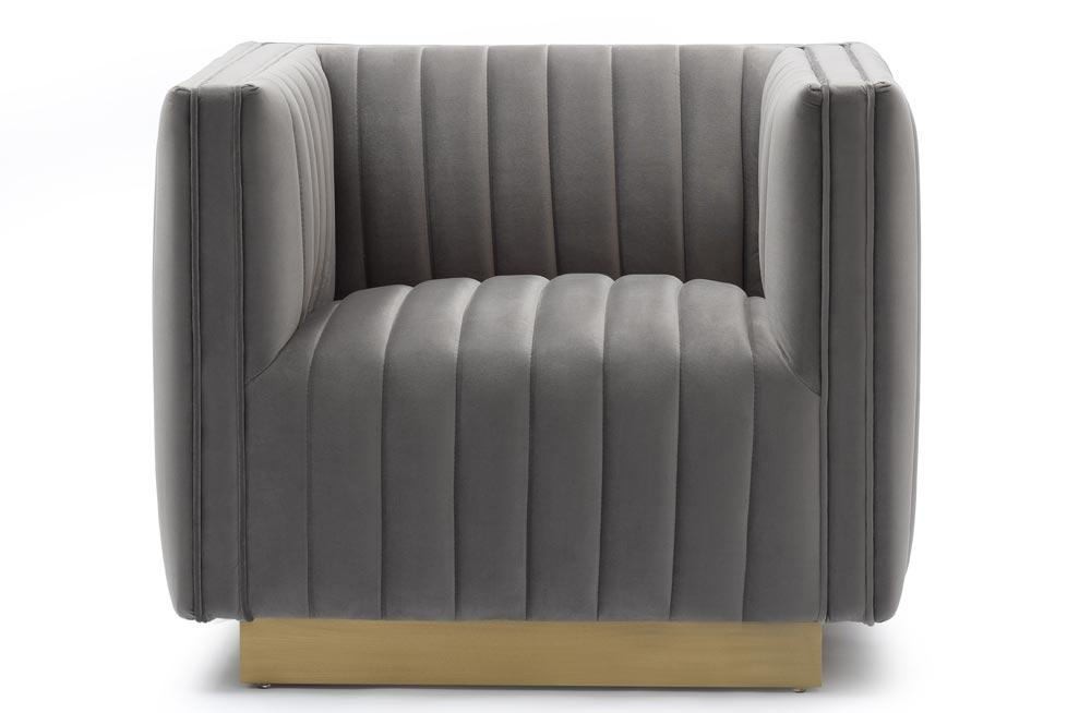 Club chair Hagen, grey, velvet, 90x88x71cm, seat height 45cm