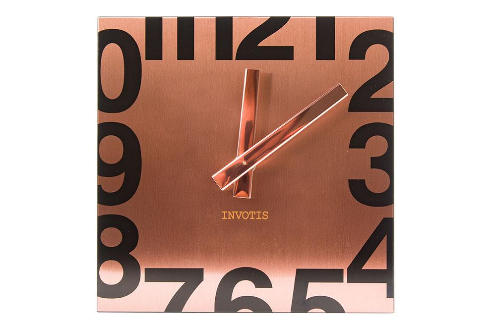 Wall clock Square, copper colour, 19x19x5.5cm