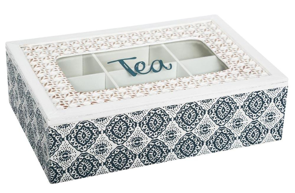 Tea box Ocean, 6 compartments, H7x24x16cm