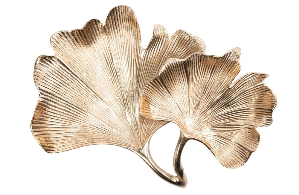 Decorative plate Ginko, aluminium, golden, 27x33x10cm
