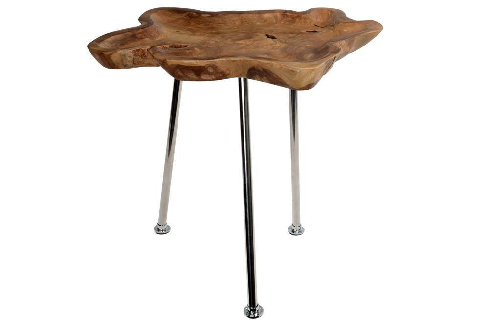 Teak teable with 3 stainless steel table legs, D50cm, W55cm