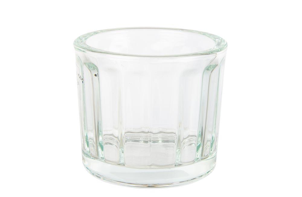 Glass pot with stripes-clear, H8 D9cm