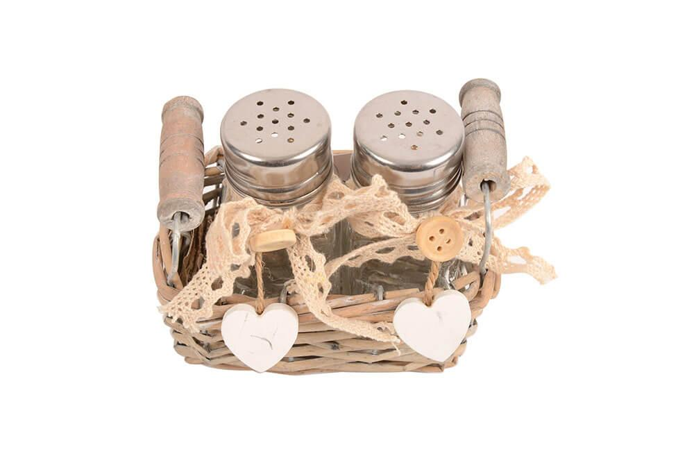Salt and Pepper Shaker set with basket, 12x6x11cm
