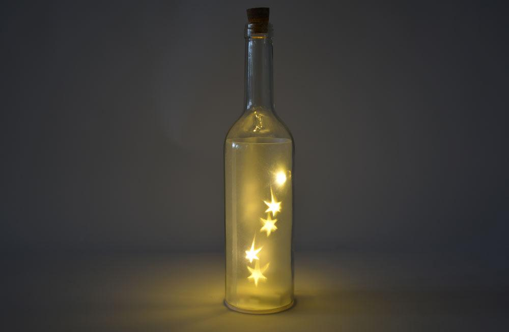 Glass Bottle with 5 LED, 29x7cm
