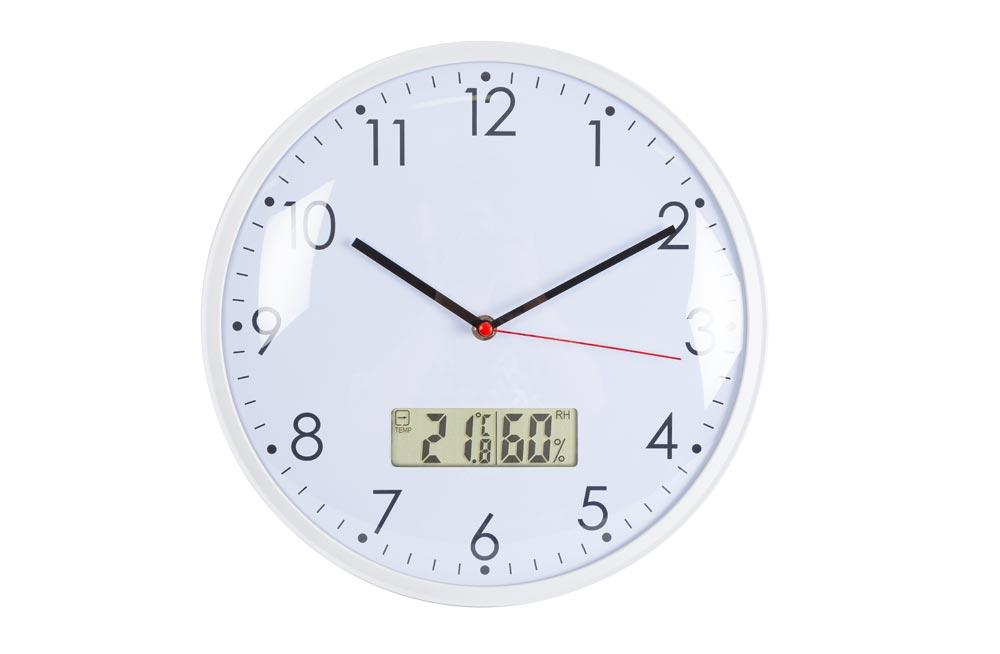 Wall clock with thermometer and hygrometer, D-26x3cm 1xAA